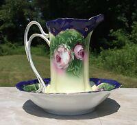 Navy Blue & Cream Vintage Floral Porcelain Pitcher & Wash Basin Set