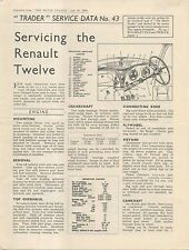 Renault Twelve 12  (Pre War model) Motor Trader Service Data No. 43 1938