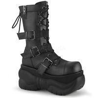 Demonia BOXER-230 Men's Black Goth Biker Platform Lace-Up Zip Mid Calf Boots