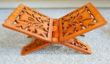 Ornate Wooden Quran stand, vintage book stand, folds flat