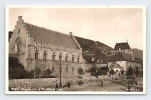 Bergen Norway Haakon's Hall and Walkedorf Tower RPPC Enerett Mittet & Co RPPC