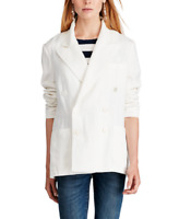 Polo Ralph Lauren Women's Double Breasted Blazer/Jacket, White, Size Small