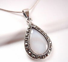 Mother of Pearl Marcasite Necklace 925 Sterling Silver Corona Sun Jewelry