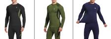 Active Sports Wear Thermal Pants Shirt Set Warm Fleece Top Bottom For Men Gym +