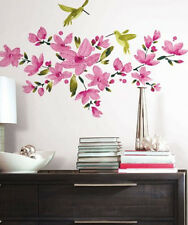 PINK FLOWERING VINE wall stickers 35 decals room decor flowers leaves garden