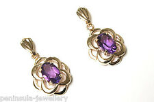 9ct Gold Amethyst Celtic Drop earrings Gift Boxed Made in UK