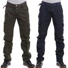 Pantaloni uomo cargo militari tasconi laterali casual lacci cotone nuovi 1902