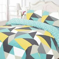 SHAPES GEOMETRIC SINGLE DUVET COVER SET REVERSIBLE TRIANGLES BLUE GREY YELLOW