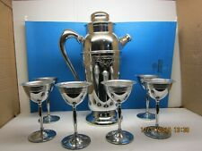 Vintage Art Deco Cocktail Shaker Bar Set 6 Glasses