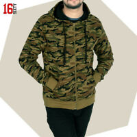 Mens Army Fur Lined Military Camo Camouflage Zip Hoodie Hooded Jacket Top M-XXL