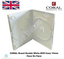 200 Doppie Bianco DVD Case 14 MM SPINA RICAMBIO nuovi blocchi di copertura 2 DISCHI CORALLO