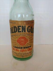 Vintage Golden Glow Lager Brew labeled bottle Golden West Brewing Co Oakland Ca.