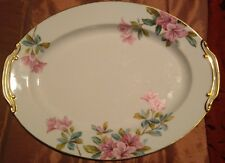 "Vintage Noritake AZALEA Gold Trim Oval 13 3/4"" Serving Platter 5148 - Japan"