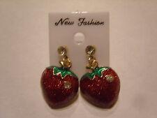 Ohrringe mit roter Erdbeere mit Strass halbe Erdbeere Sommer Obst  563