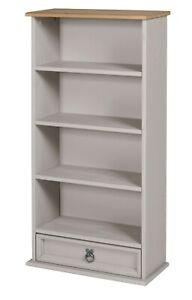 Corona DVD Rack Grey Wax Bookcase 1 Drawer Solid Pine by Mercers Furniture®