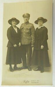 Antique Postcard WW1 Portrait of Soldier & 2 Women Unposted 5