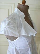 CATHERINE MALANDRINO White Cap-Sleeves Cotton Voile Top Blouse Tunic Shirt USA 8