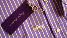 £ 315 RALPH LAUREN Purple Label/Italy WHITE-Stripe Tailored Fit Shirt; 14.5/xs/36