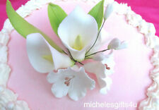 Gum Paste Sugar 3 Calla Lilies, 3 Leaves, 2 White Blossoms Cake Flowers