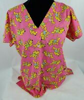 Liana Uniform Womens Scrub Top Sz S Sm Pink Yellow Dogs V-Neck Short Sleeve