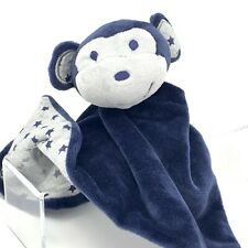 Matalan Navy Blue and Grey Monkey Comforter Soft Toy Stars Soother Blankie