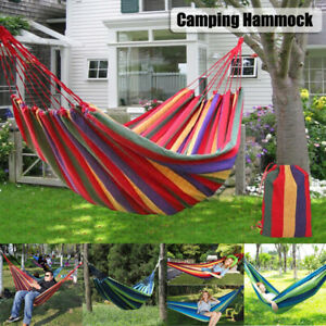 Outdoor Travel Canvas Hammock Double Person Garden Camping Hanging Bed Swing