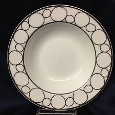 "CIROA CITOLI RIM SOUP BOWL 9"" PLATINUM CIRCLES ON WHITE PLATINUM TRIM"