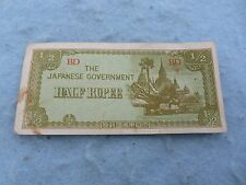 WWII Japanese Invasion Currency Burma Half Rupee Note WW2
