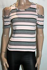 COTTON ON Brand Pink Striped Cold Shoulder T-Shirt Top Size M BNWT #TO106