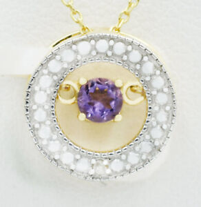 GENUINE 0.15 Ct AMETHYST & DIAMOND PENDANT NECKLACE .925 Sterling Silver ** NWT