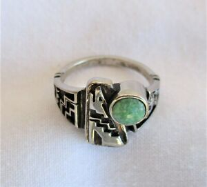 Dealer Lot of 44 – Silver & Green Turquoise Howling Wolf Rings * New