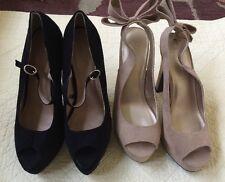 Forever 21 Black & Tan Faux Suede Ladies Pumps Size 8