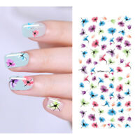 LEMOOC Colorful Water Decals Flower Nail Transfer Sticker Nail Art DIY Decals