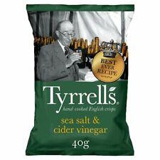 Tyrell's Sea Salt & Cider Vinegar Crisps - Box of 14x 40g Packets - NEW/SEALED