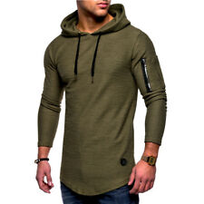 Fashion Men's Slim Fit Hooded Long Sleeve Muscle Tee T-shirt Casual Tops Blouse
