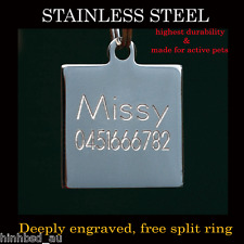 Stainless Steel Square Pet Dog Cat Tags Small Customised Personalised Engraving