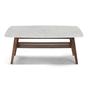 "Laura 43"" Rectangular Carrara White Marble Coffee Table with Walnut Shelf"