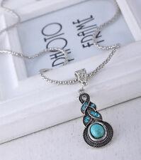 Women Retro Blue Turquoise Crystal Tibet Silver Pendant Necklace Jewelry BA112