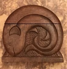 Vintage Carved Fish Hinged Wooden Cigarette Box Rare 2-sides Fishes