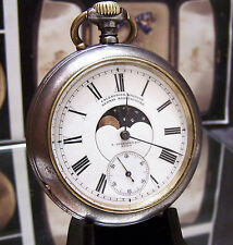 ANTIQUE CALENDAR MOONPHASE VERHAGEN C1900 DOUBLE 2 SIDED POCKET WATCH SERVICED