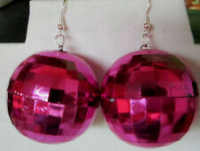 Big Hot Pink Disco Ball Earrings Christmas 925 hooks 70's look