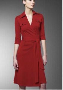 Diane von Furstenberg DVF Mary Jo Wrap Dress Red 100% Wool Stretch Pockets XS