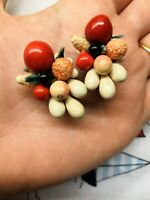 Vintage 1940s 1950s Carmen Miranda Fruit Cluster Barbola Clip Earrings Kitsch