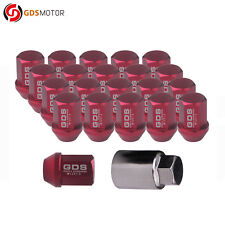 GDS 20 Red 35mm 12x1.5 Aluminum Racing Wheel Lug Nuts for Ford Focus Honda Civic