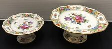 2 Vintage Dresden Carl Thieme Pedestal Cake Plate Comport Stand Reticulated *