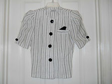 Jodie Michaels 100% Linen Pin Striped Blouse Size Small Petite Pre Owned XLNT