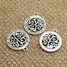6pcs tree Charms silver tone mom you are the heart of our family pendants 23mm
