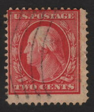 1910, Us 2c, Used, Geroge Washington, Sc 375, Vertical ribbed paper