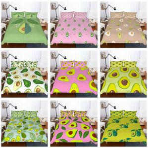 3D Cartoon Avocado Duvet Quilt Cover Bedding Set Pillowcase Twin Full Queen King