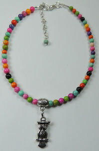 Anklet  Multicolor Beads & Owl Beaded Handcrafted Modern Foot ankle Jewelry